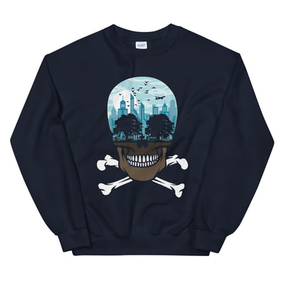 close up view of a The city of death graphic on navy sweatshirt from teexpression