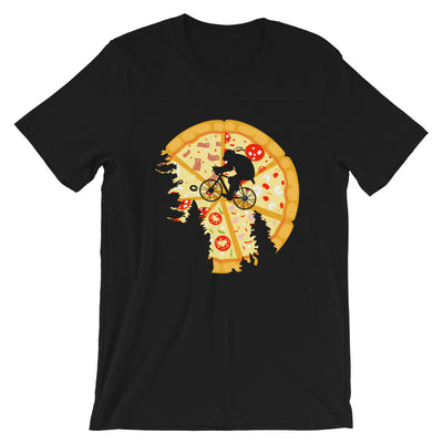 Pizza Moon design on flat Black t-shirt