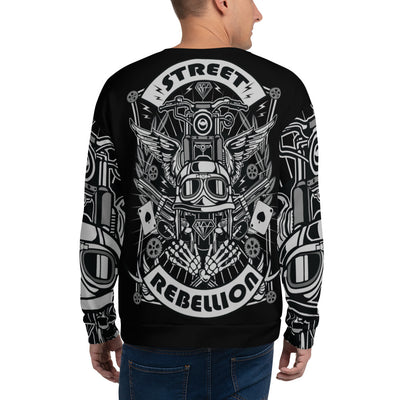 Street Rebellion all over print sweatshirt on black mockup Back Man