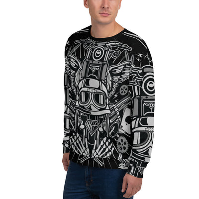 Street Rebellion all over print sweatshirt on black mockup Left Front Man