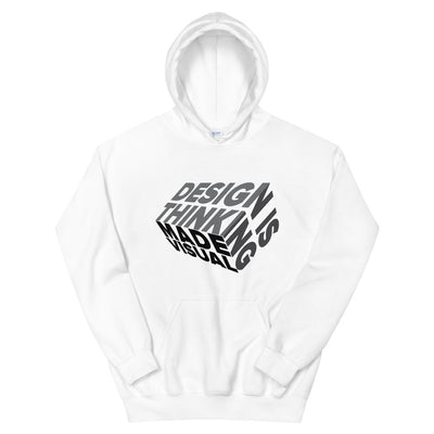 design is thinking made visual on black Unisex Heavy Blend Hoodie from teexpression Front Flat White