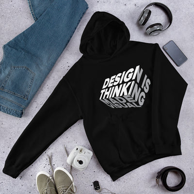 design is thinking made visual on white Unisex Heavy Blend Hoodie from teexpression Front Flat Lifestyle Black