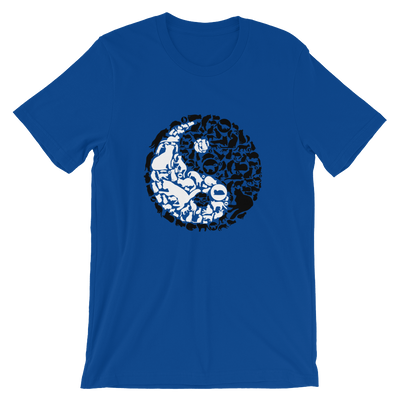 Yin-Yang made of collaged black and white cats on a true royal colored t-shirt