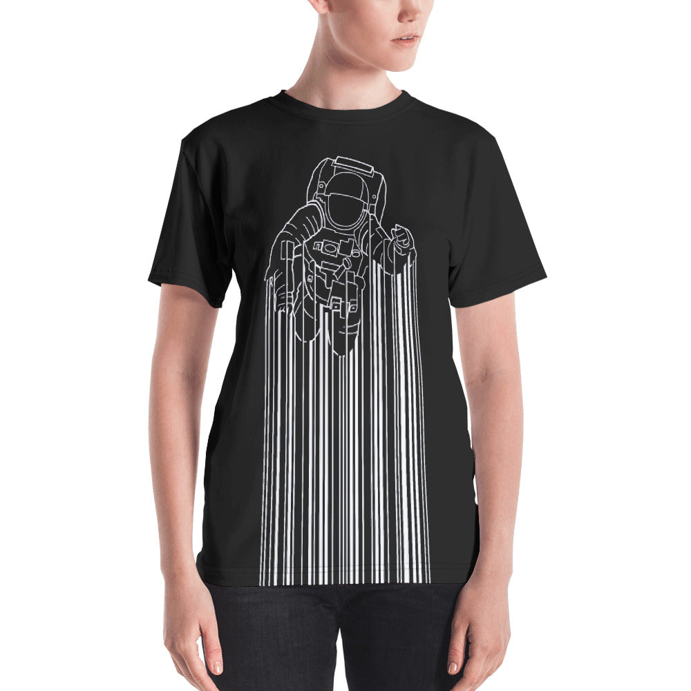 Front view of a black all-over women's shirt with Astrocode design from teexpression