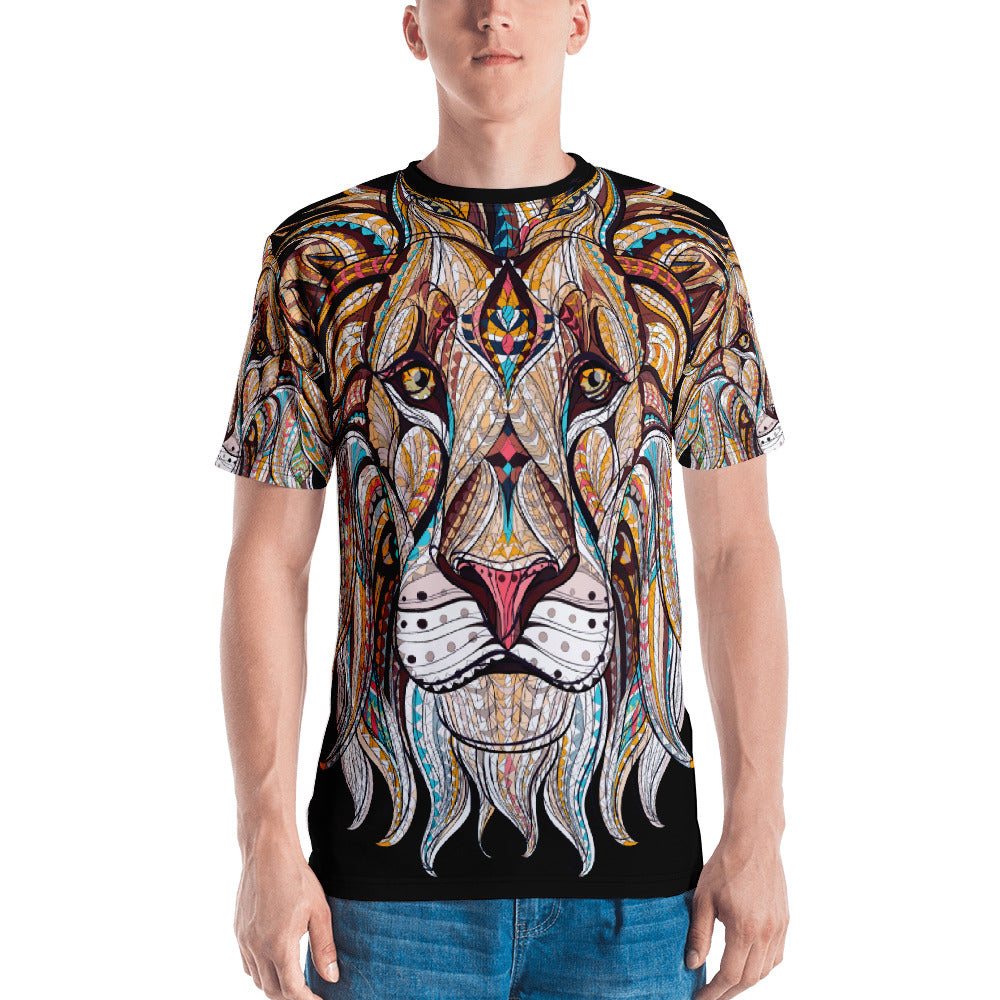 Front view of man on King of the Jungle All-Over Print Men's Crew Neck T-Shirt