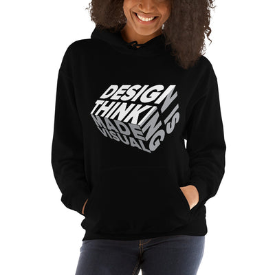 design is thinking made visual on white Unisex Heavy Blend Hoodie from teexpression Front Womens Black