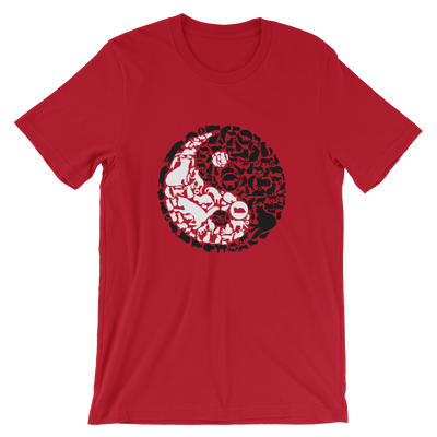 Yin-Yang made of collaged black and white cats on a red t-shirt