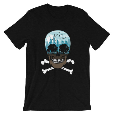 The city of death mockup Front Fla Black Heather from teexpression