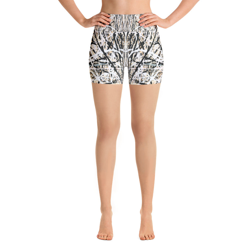 Abstract Yoga Shorts front view from Teexpression