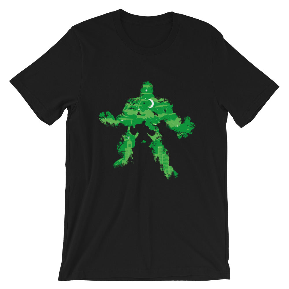 Green Monster mockup Front Flat on Black tee from teexpression