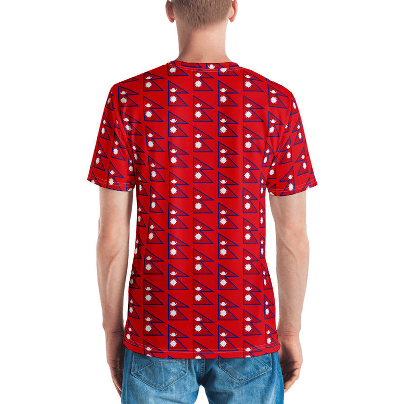 Flag of Nepal Patterns All-Over Print Men's Crew Neck T-Shirt