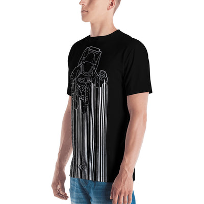 Left view of a black all-over men's shirt with Astrocode design from teexpression