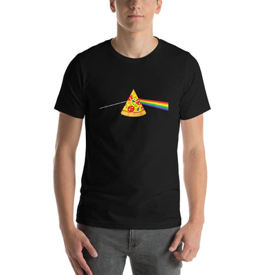 Man wearing Pizza rainbow designed tee on Black