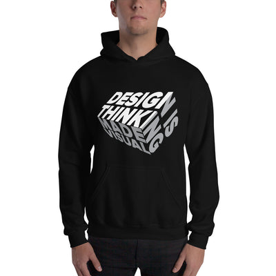 design is thinking made visual on white Unisex Heavy Blend Hoodie from teexpression Front Mens Black