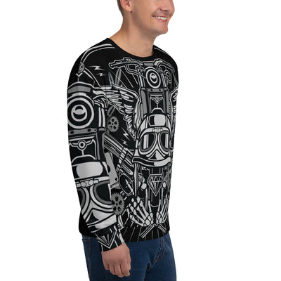 Street Rebellion all over print sweatshirt on black mockup Right Front Man