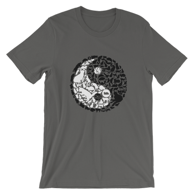 Yin-Yang made of collaged black and white cats on a asphalt colored t-shirt