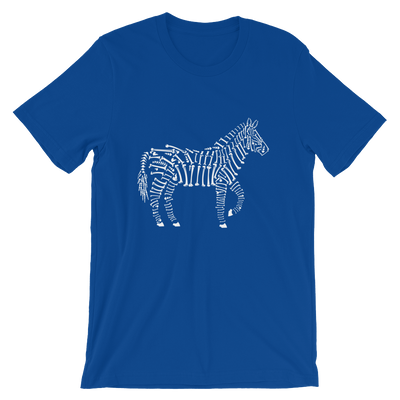 Bone striped Zebra in True Royal t-shirt
