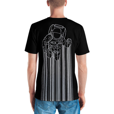 Back view of a black all-over men's shirt with Astrocode design from teexpression