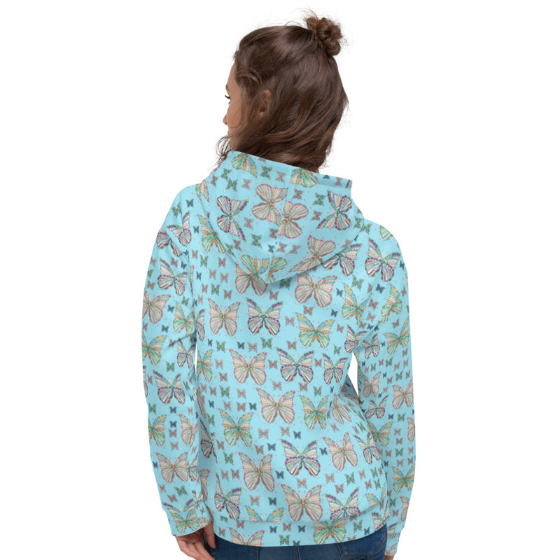 Woman wearing Teexpression Butterflies All-Over Print Unisex Hoodie blue, smiling front
