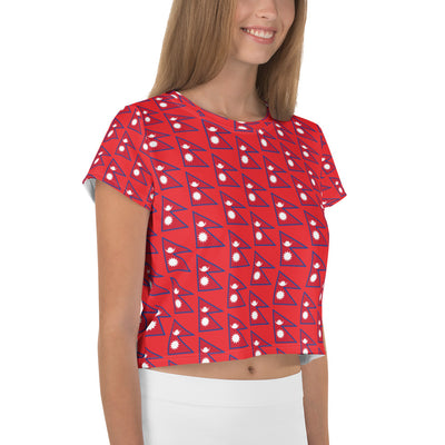 Flag of Nepal Patterns All-Over Print Crop Tee