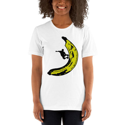 Woman wearing Banana Skateboard designed tee on White