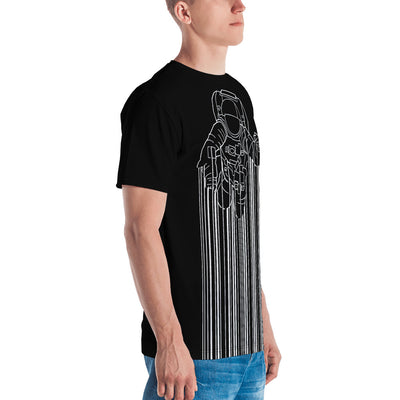 Right view of a black all-over men's shirt with Astrocode design from teexpression