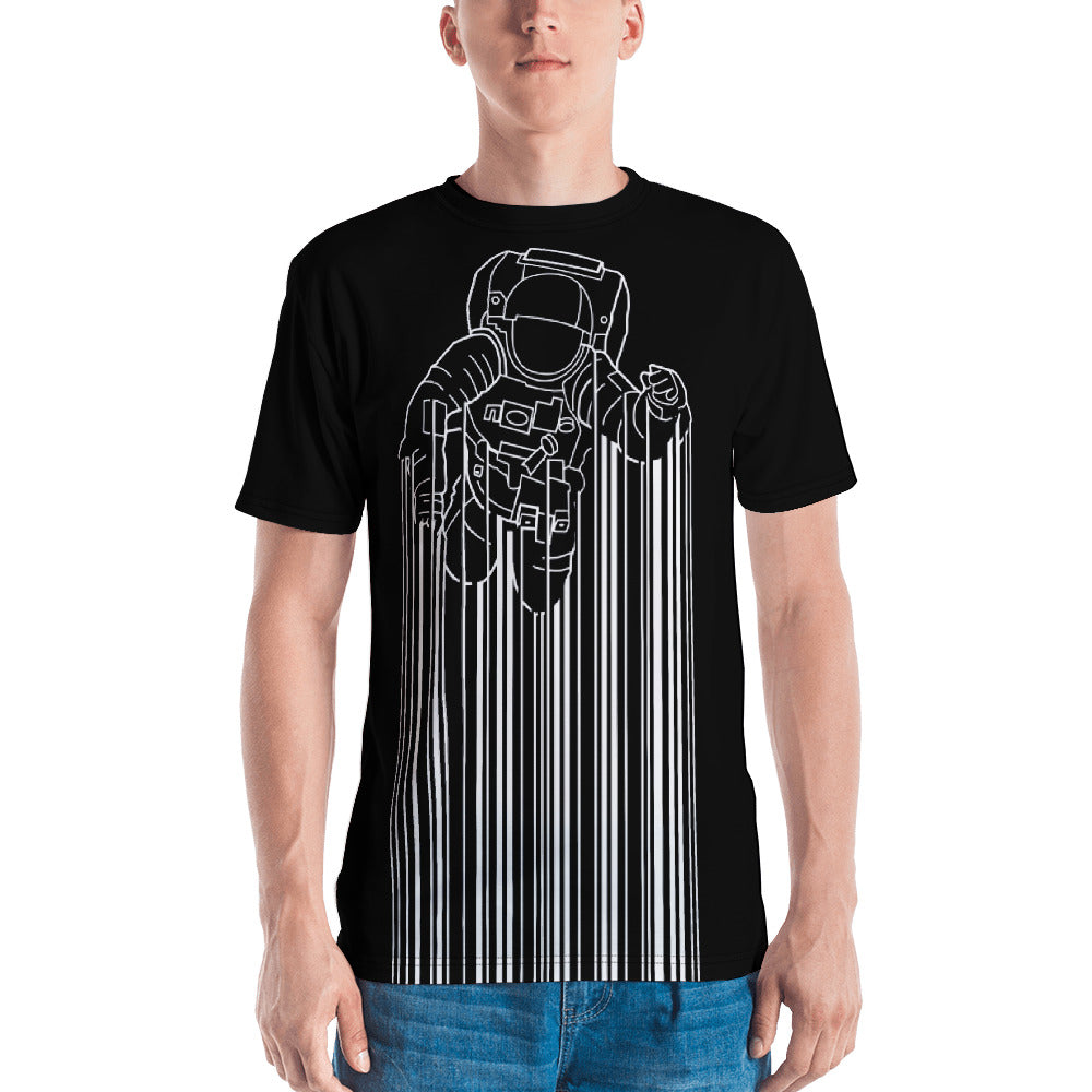 Front view of a black all-over men's shirt with Astrocode design from teexpression