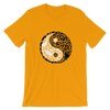 Yin-Yang made of collaged black and white cats on a gold colored t-shirt