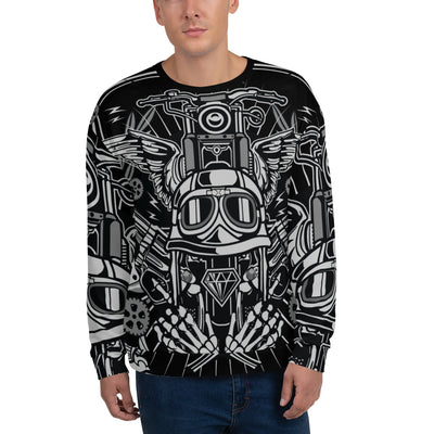 Street Rebellion all over print sweatshirt on black mockup Front Man