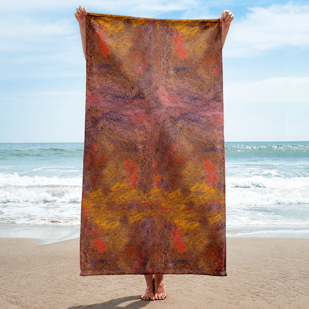 Abstract beach towel vertically shown on the backdrop of a ocean beach from Teexpression