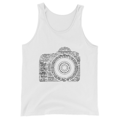 Famous quotes typographically collaged to form a camera on white tank tops for both men and women from Teexpression