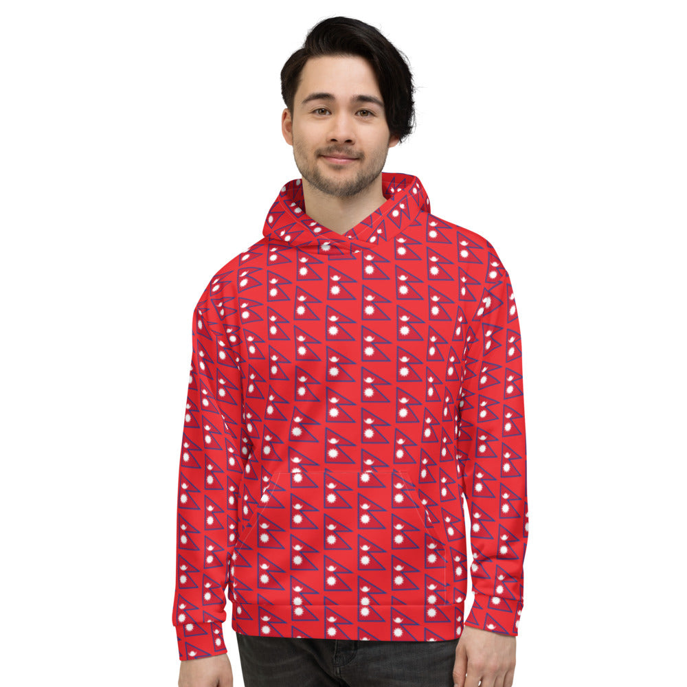 Flag of Nepal Patterns All-Over Print Unisex Hoodie