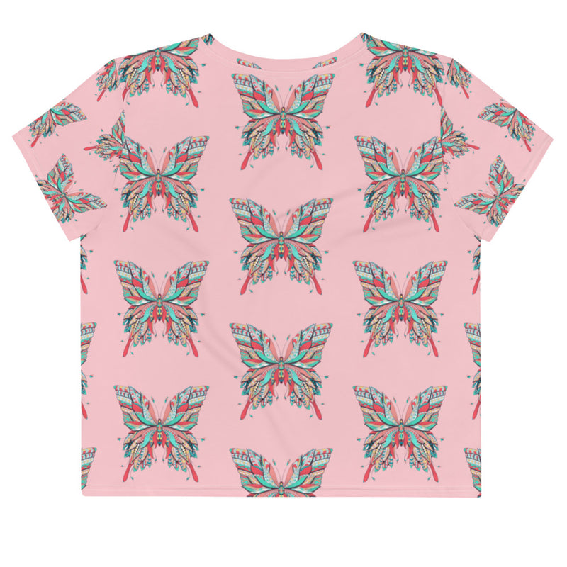Teexpression Crop tee all over print watercolor drawing butterfly mockup Front Flat pink