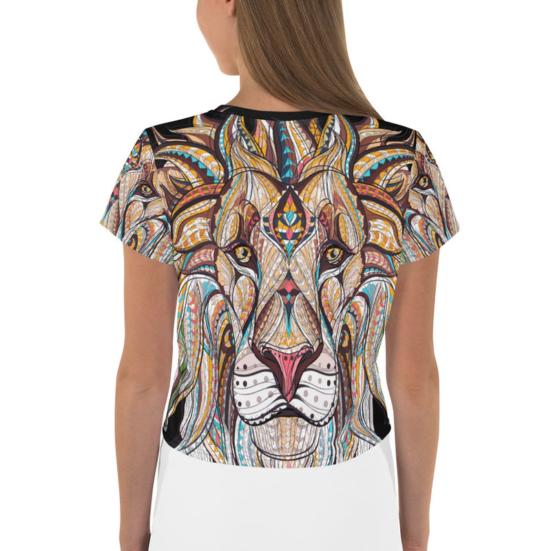 Front view of King of the Jungle All-Over Print Crop Tee