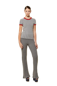 POSSUM SILK MERINO CAP SLEEVE HOUNDSTOOTH TOP