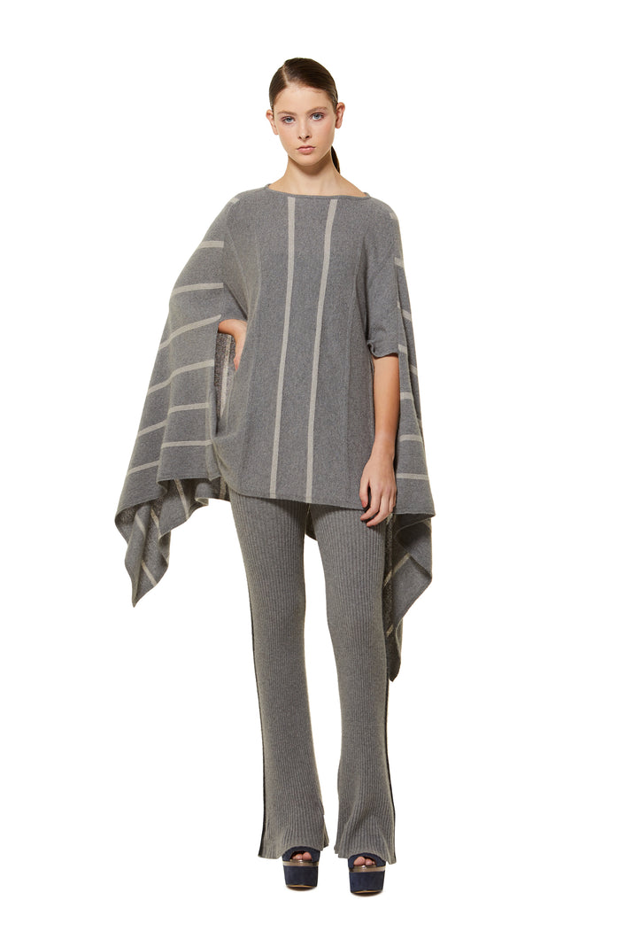 POSSUM SILK MERINO STRIPE PONCHO