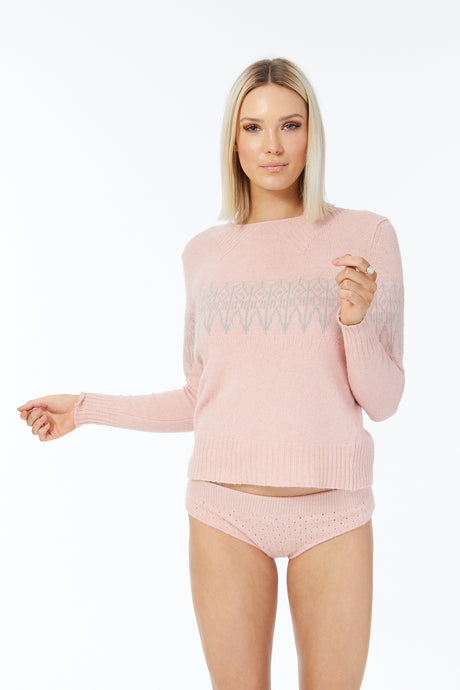 Possum Silk Merino Fair Isle Jumper in Veneta Pink