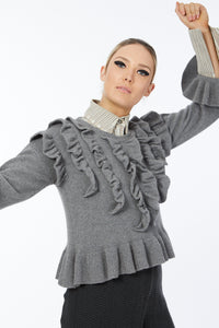 Possum Silk Merino Vola Tux Top in Pewter
