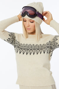 Possum Silk Merino Fair Isle Jumper in Ivory