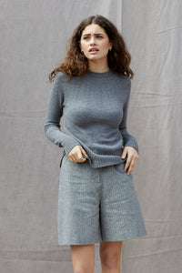 Heart Yoke Jumper in Pewter