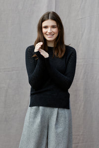 Heart Yoke Jumper in Charcoal