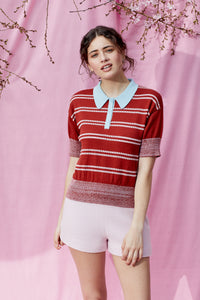 Made in New Zealand COTTON SILK POLO SHIRT in Pomegranate