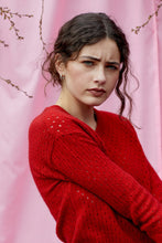 Possum Silk Merino Eyelet V Neck in Red