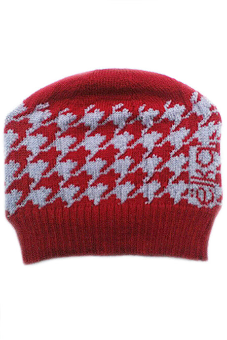 Houndstooth Merino Baby Beanie in Red