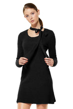 POSSUM SILK MERINO BOW DRESS in BLACK