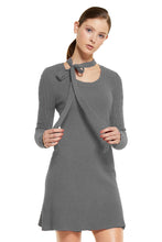 POSSUM SILK MERINO BOW DRESS in PEWTER