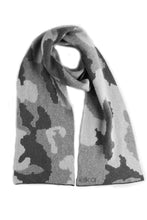 Camouflage Pattern Possum Silk Merino Scarf Grey Mix