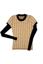 Chloe Houndstooth Jumper in Camel/Ivory/Black