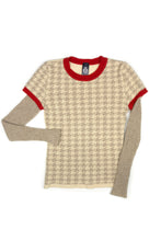 Chloe Houndstooth Jumper in Ivory/Beige/Red