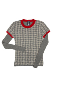 Chloe Houndstooth Jumper in Pewter/Dove/Red